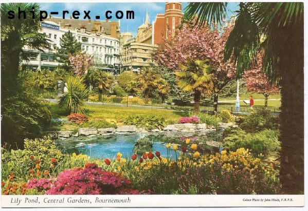 Bournemouth - Lily Pond, Central Gardens - postcard